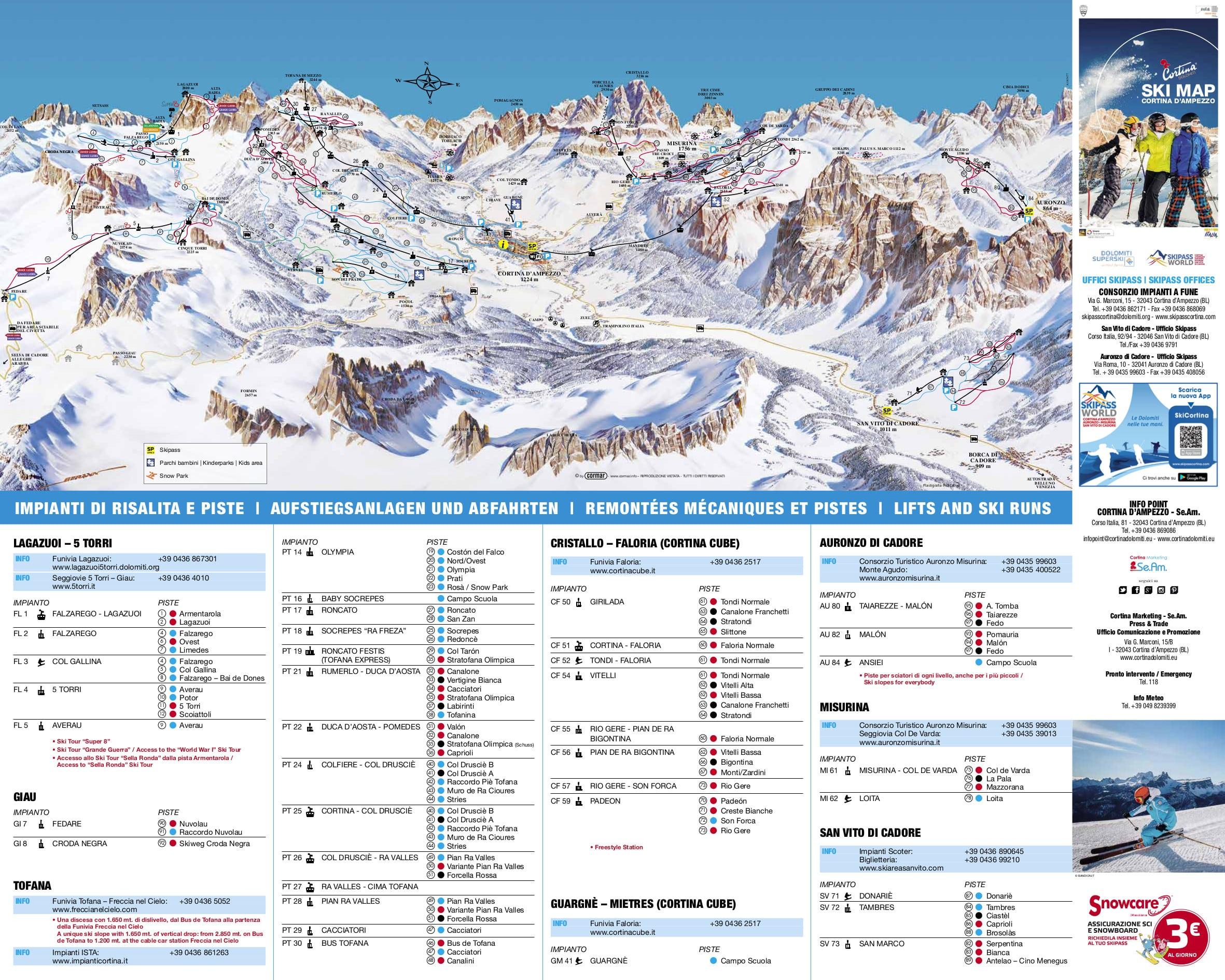 Cortina DAmpezzo Piste Map