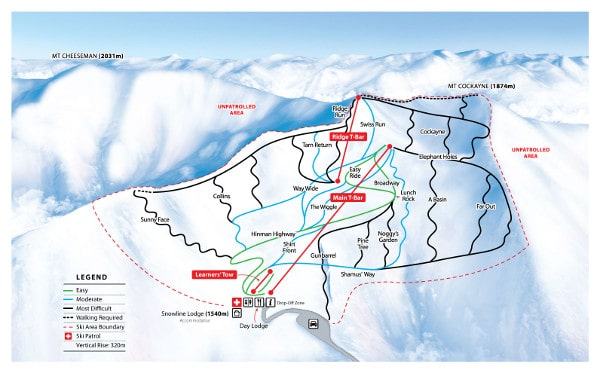 Mt Cheeseman Ski Resort Piste Map