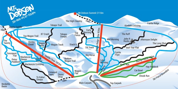 Mt Dobson Ski Resort Piste Map