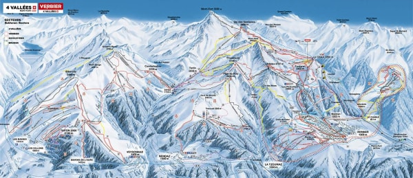 4 Vallees Ski Resort Piste Map