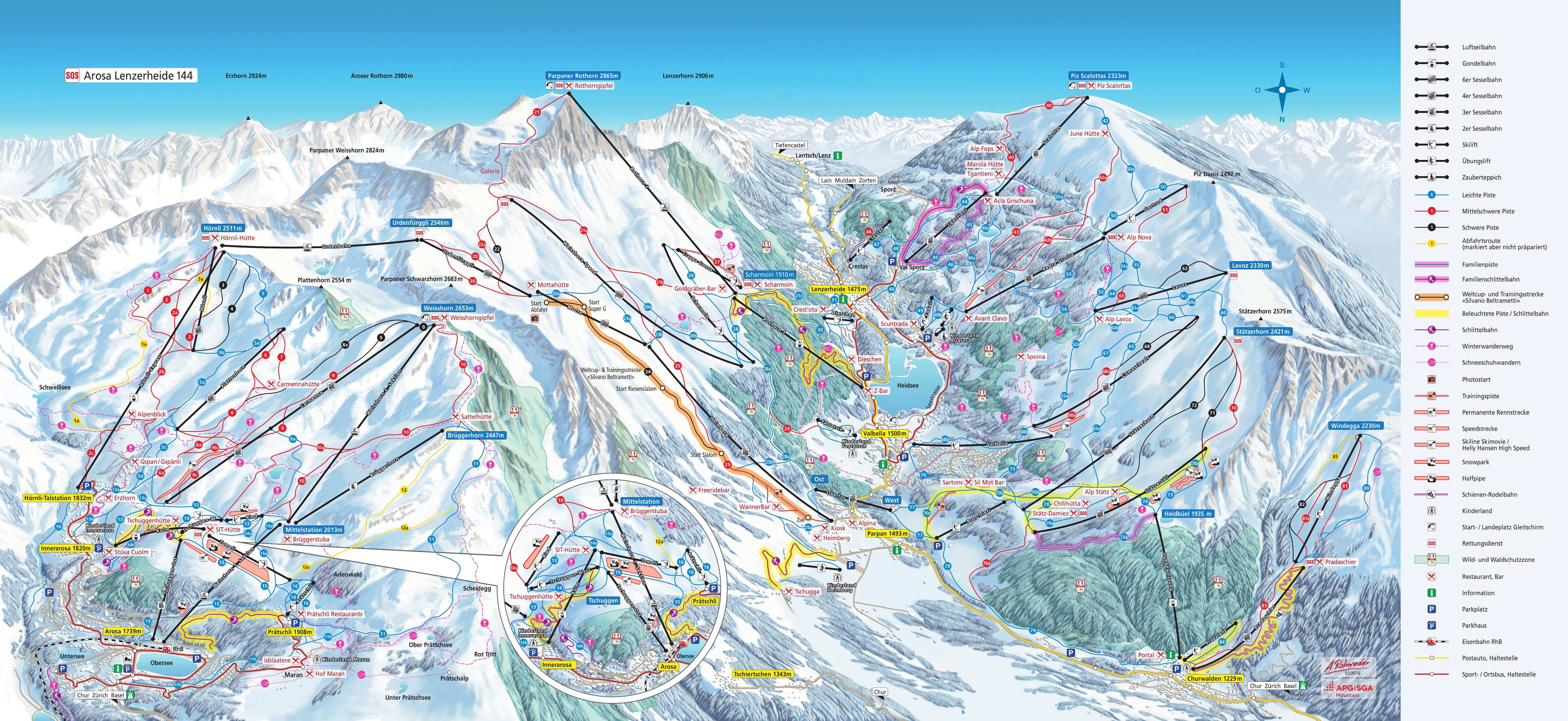 Arosa Piste Map Free Downloadable Piste