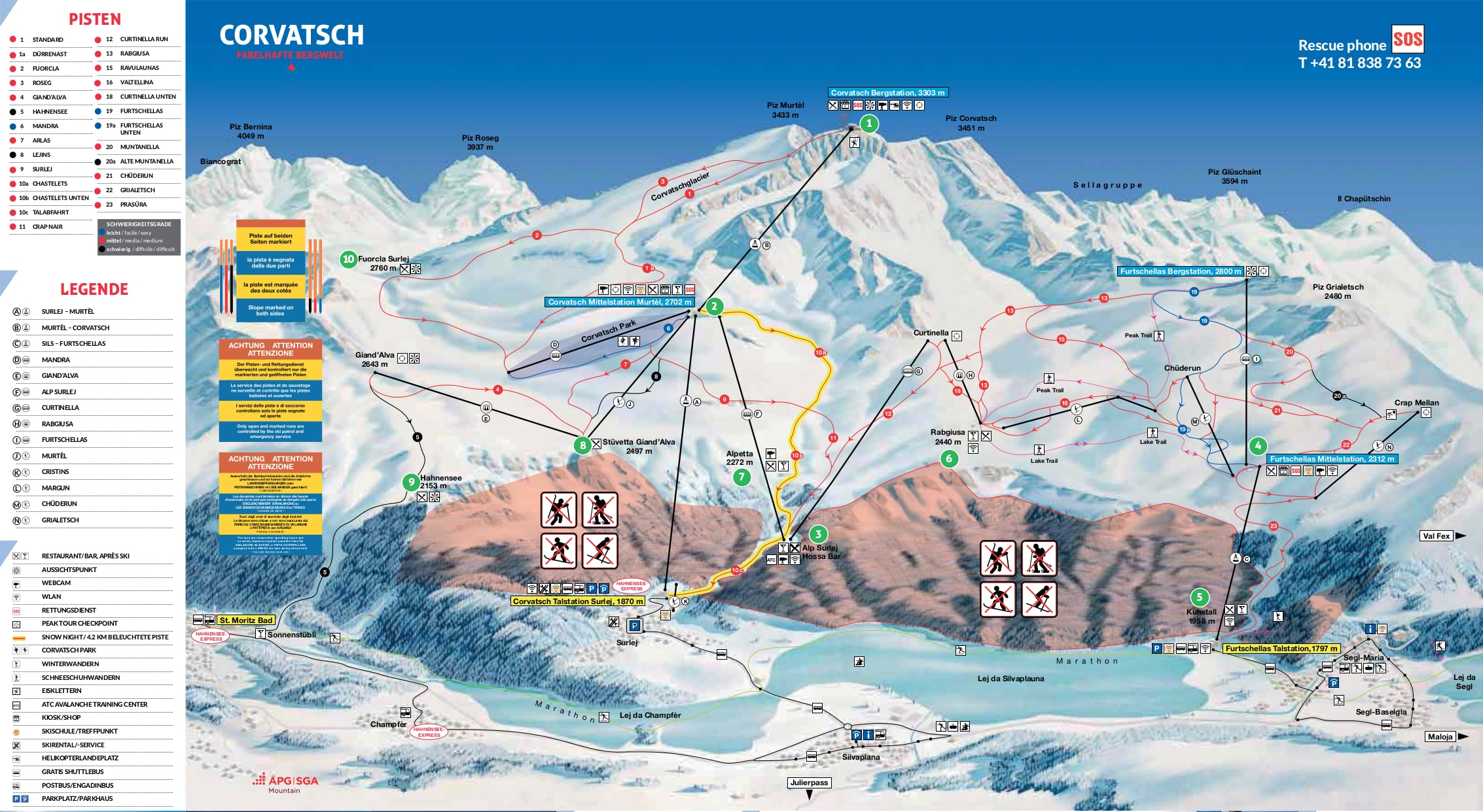 Corvatsch Switzerland Piste Map Free downloadable piste maps