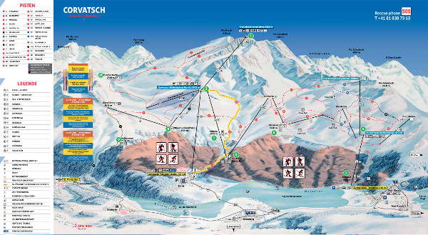 Corvatsch, St Moritz Ski Resort Piste Map