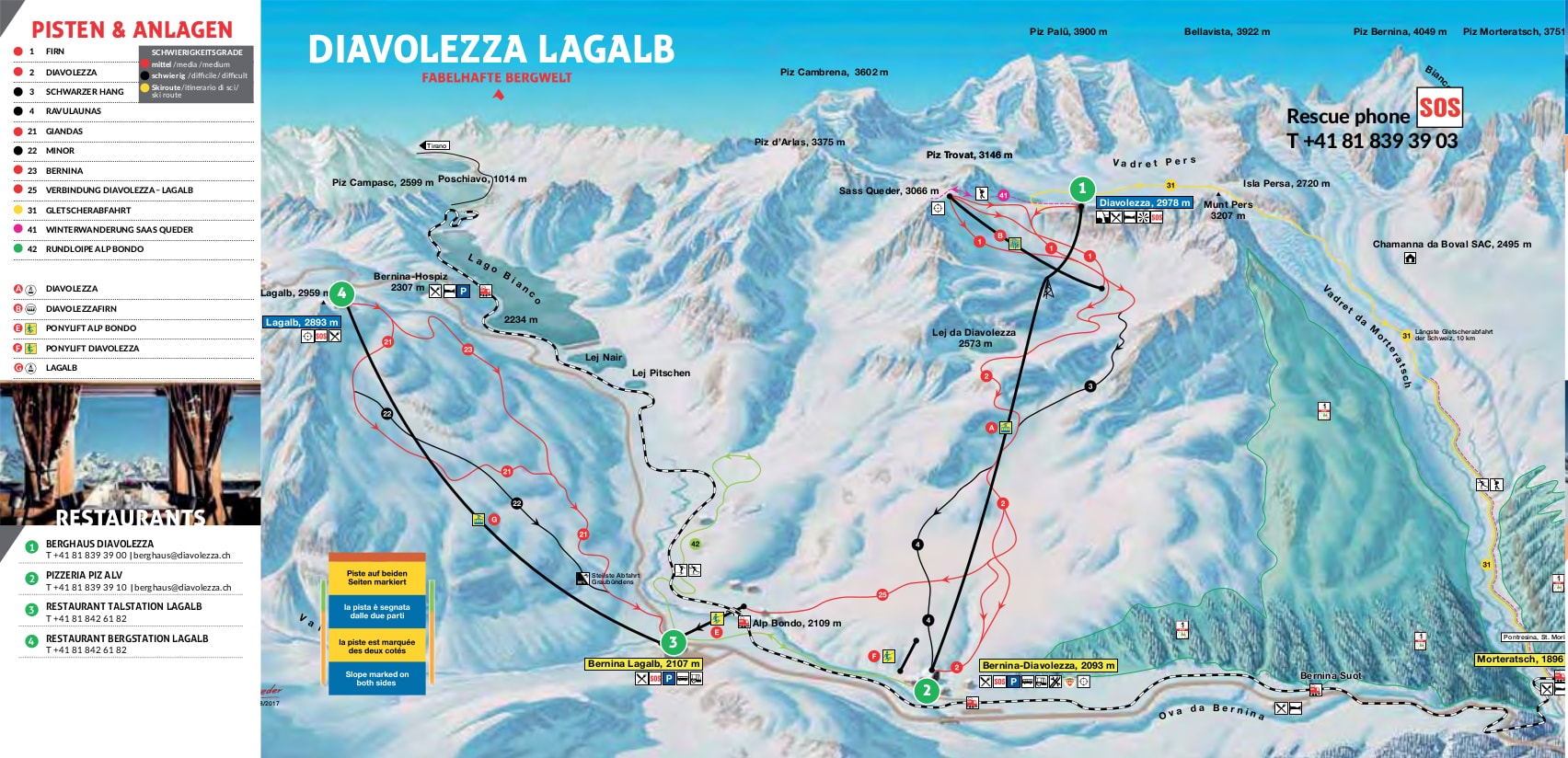 Diavolezza Lagalb Switzerland Piste Map Free downloadable piste maps