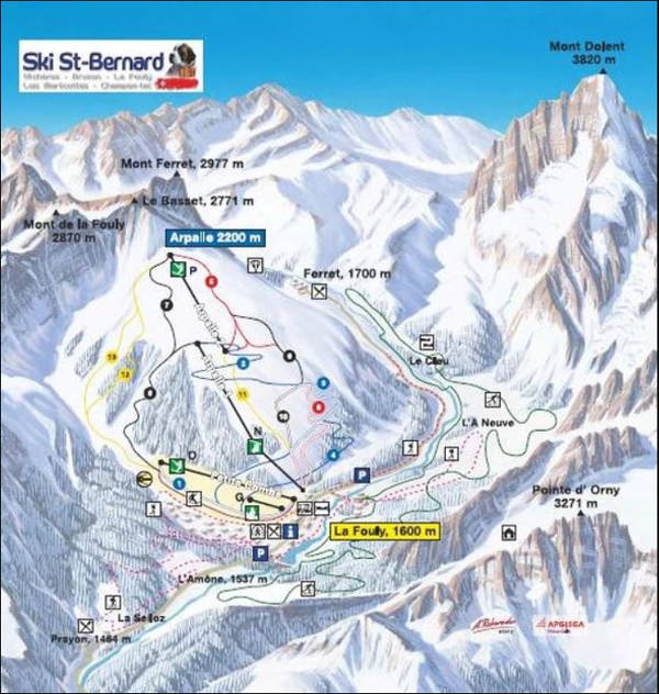 La Fouly Ski Resort Piste Map