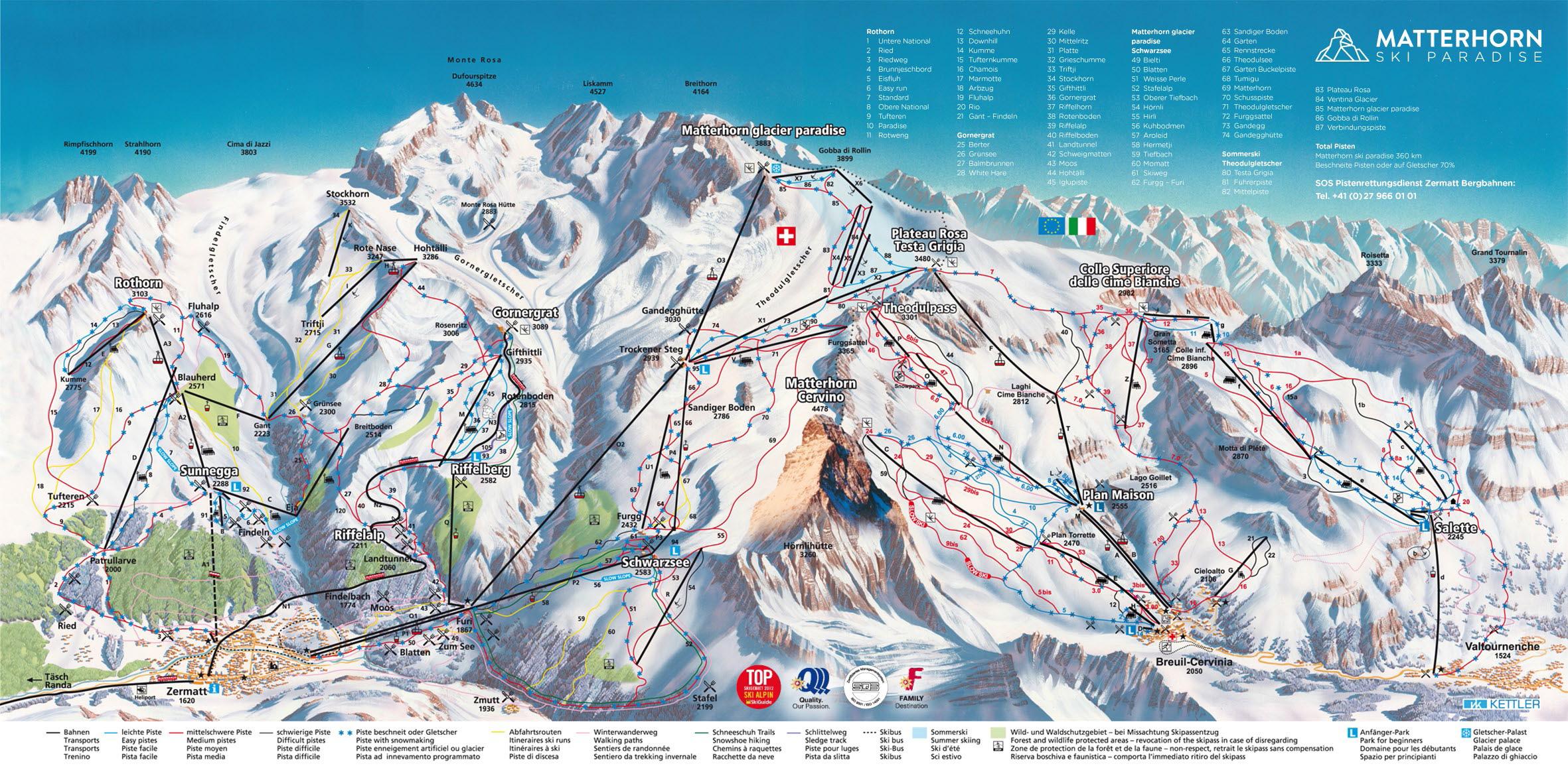 Zermatt Piste Map – Free downloadable piste maps.