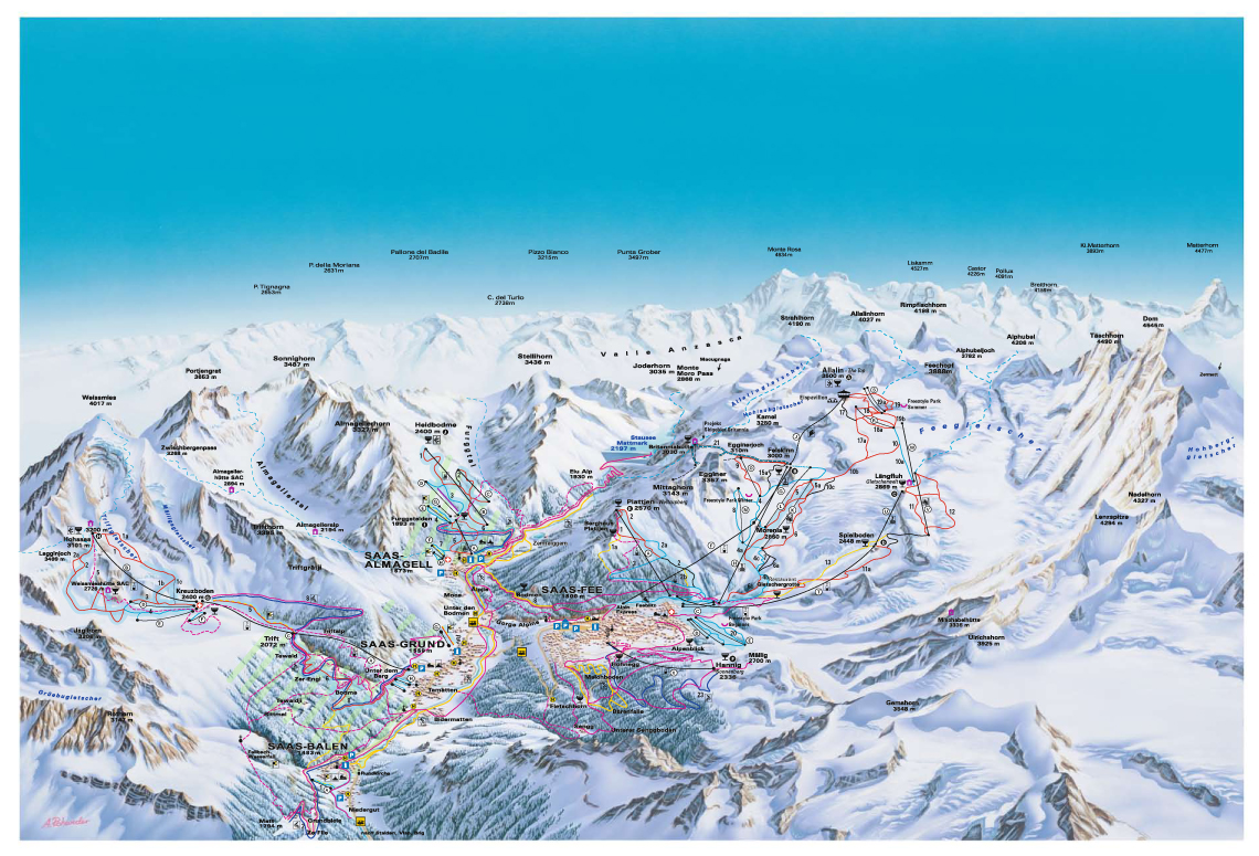 Saas Fee Piste Map Free downloadable piste maps