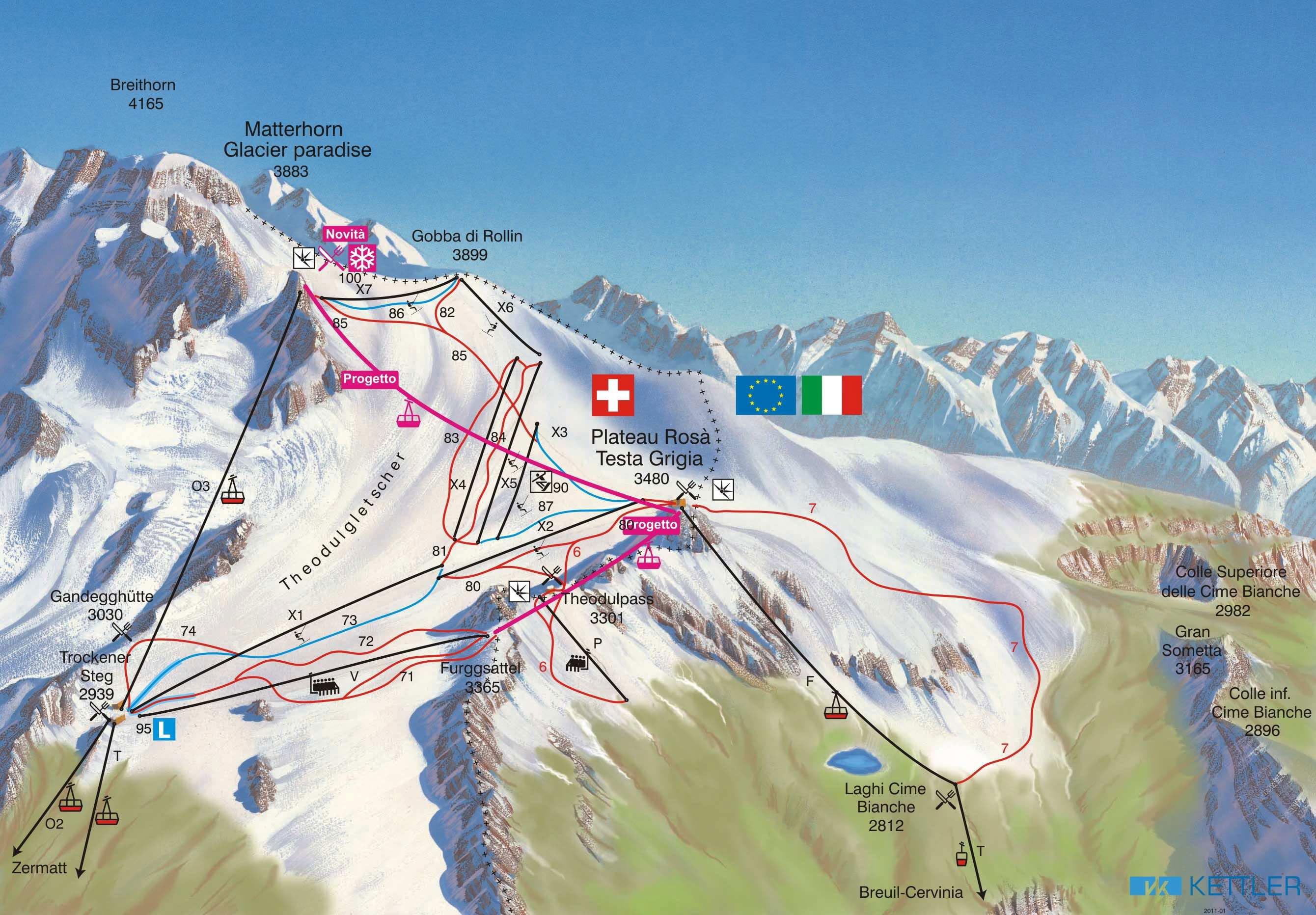 Zermatt Summer Skiing Piste Map Free downloadable piste maps. on