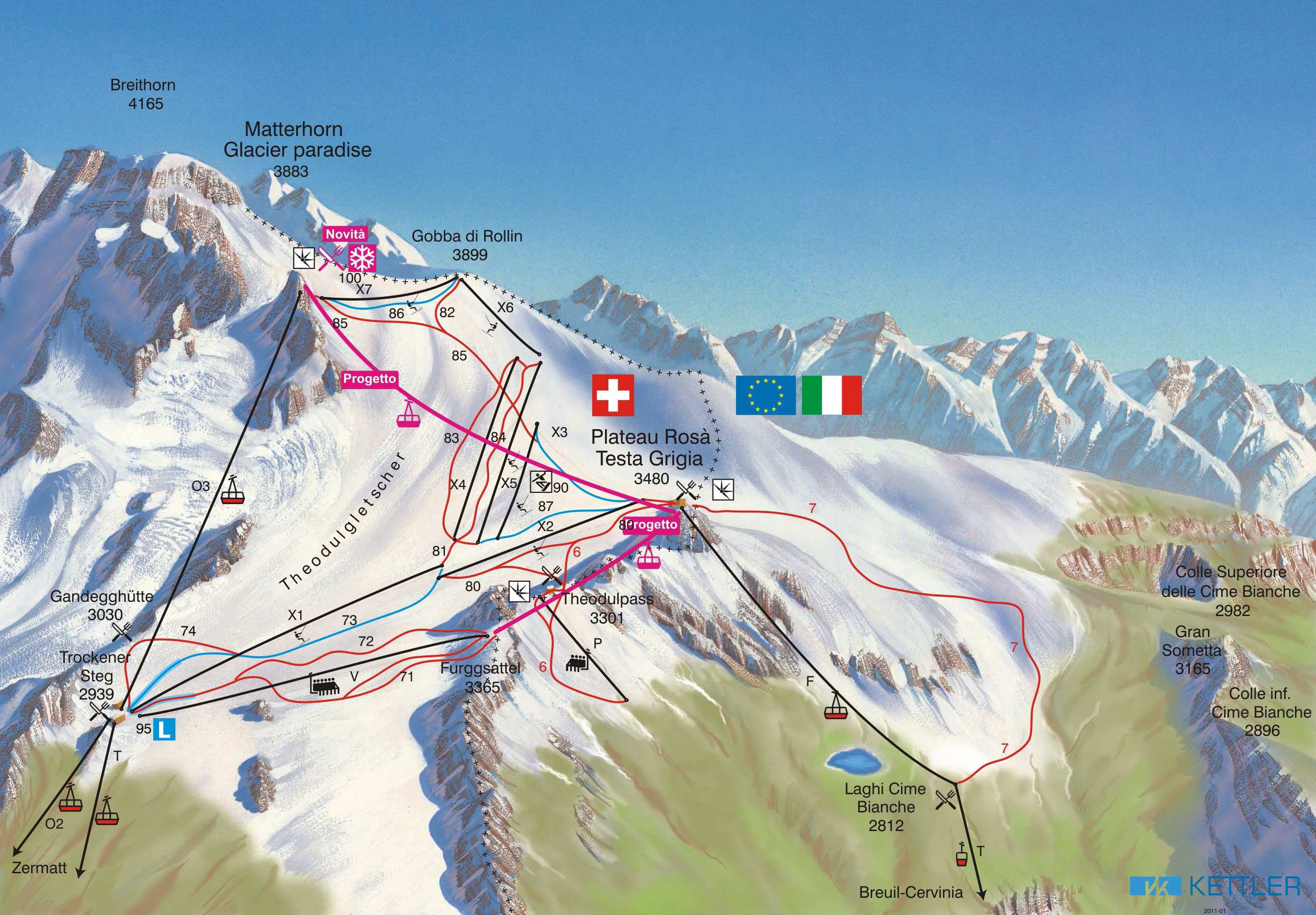Zermatt Summer Skiing Piste Map Free downloadable piste maps