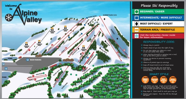Alpine Valley, Michigan Ski Resort Piste Map