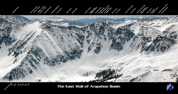 Arapahoe Basin Ski Resort East Wall Piste Map