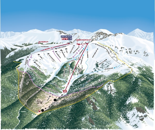 Arapahoe Basin Ski Resort Piste Map Backside Montezuma Bowl
