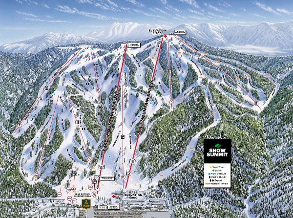 Big Bear Ski Resort Piste Map Snow Summit