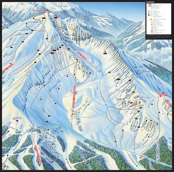 Big Sky, Bowl Ski Resort Piste Map
