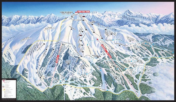 Big Sky, South Face Piste Map