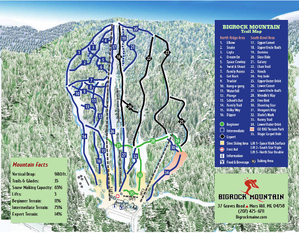 Bigrock Mountain Piste Map