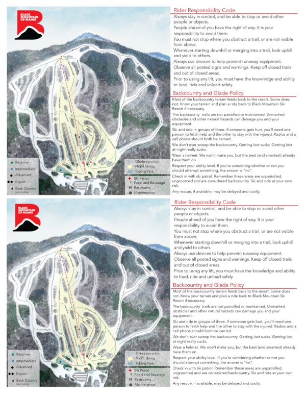 Black Mountain Piste Map