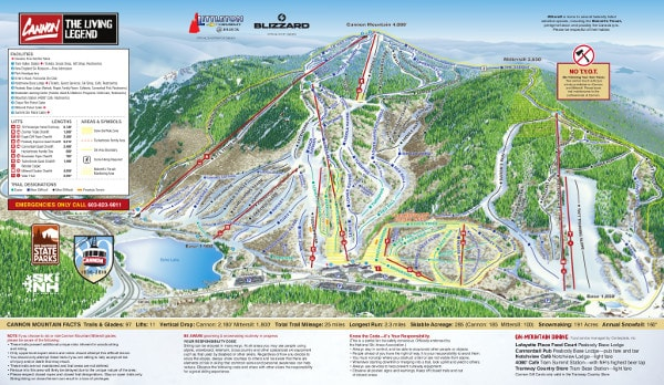 Cannon Mountain Ski Resort Piste Map