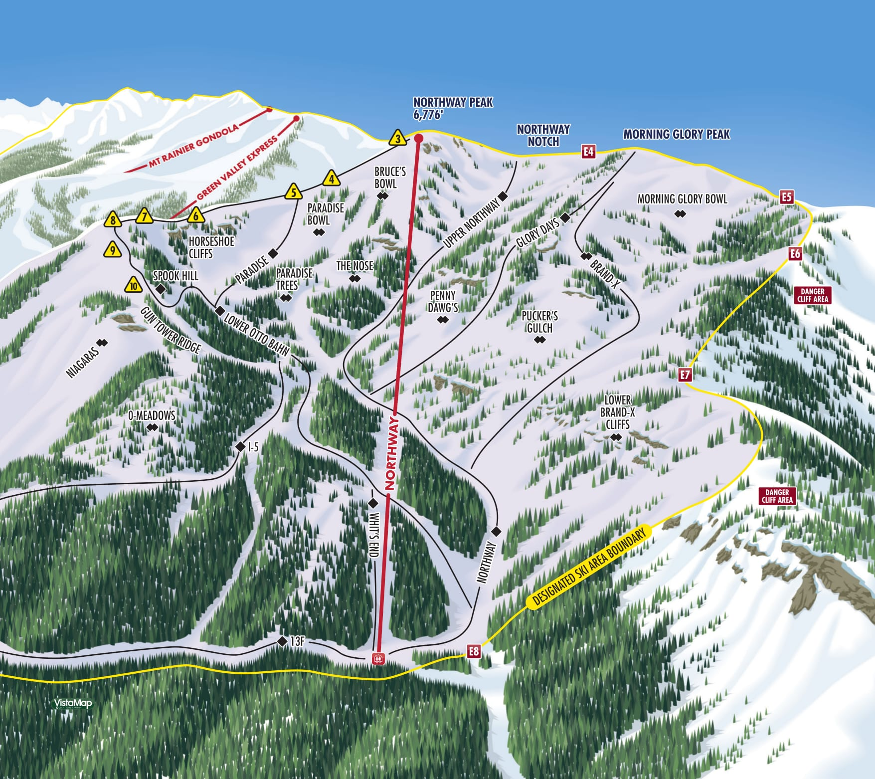 Crystal Mountain Northway Resort Piste Map