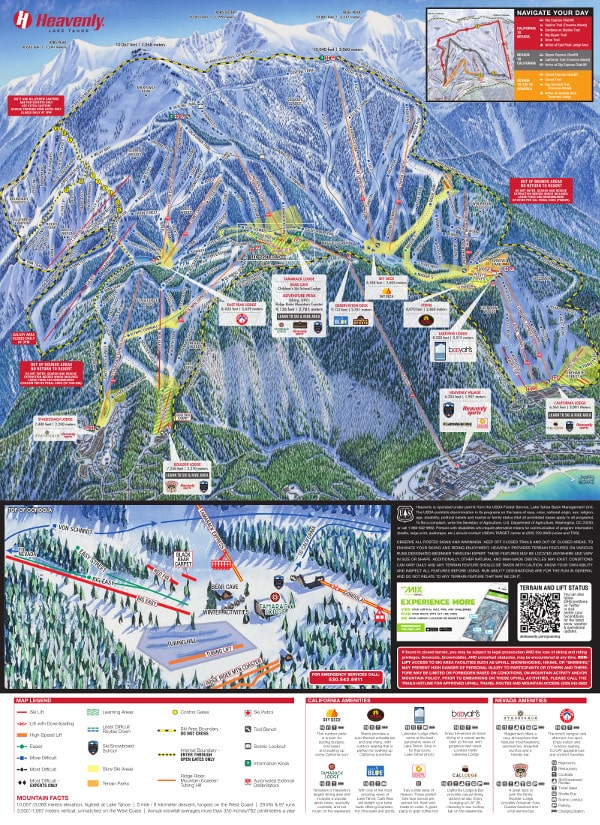 Heavenly, Lake Tahoe Ski Resort Piste Map