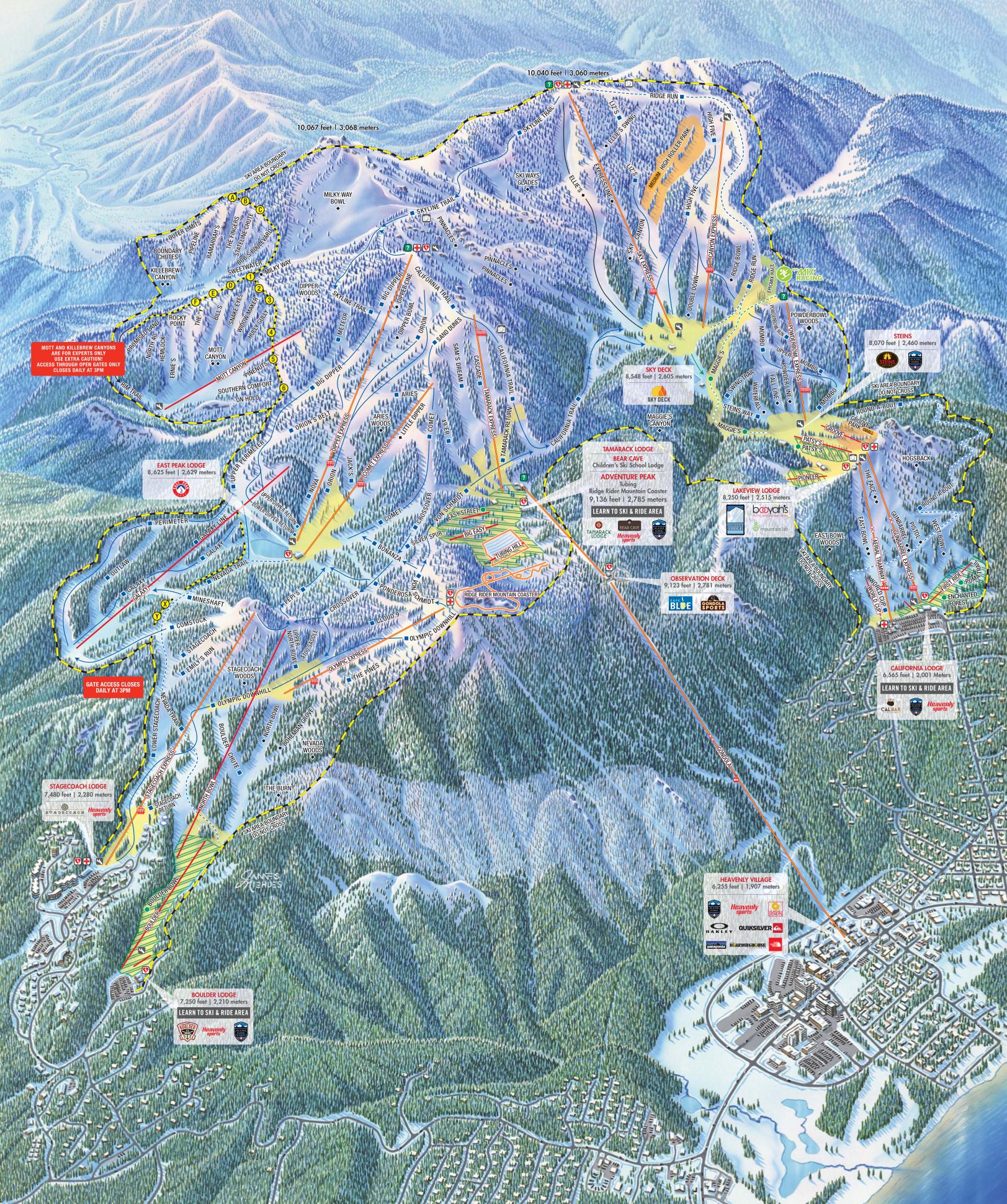 Heavenly Piste Maps - Landscape map of usa