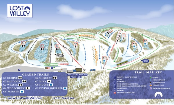 Lost Valley Ski Resort Piste Map