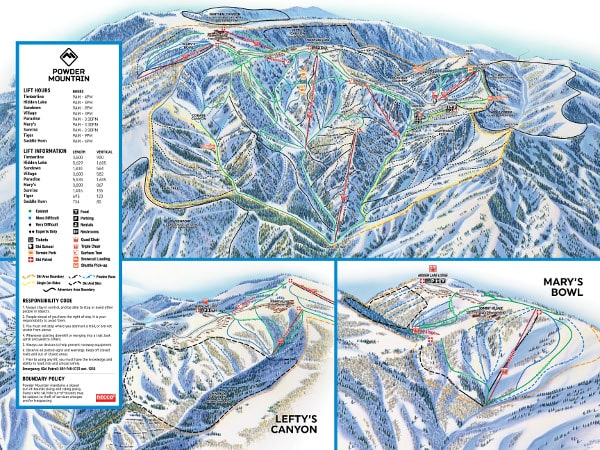 Powder Mountain Ski Resort Piste Map