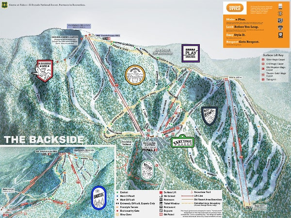 Sierra at Lake Tahoe Ski Resort Piste Map
