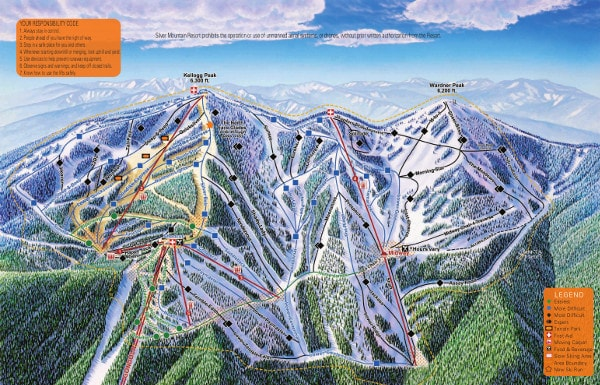 Silver Mountain Ski Resort Piste Map