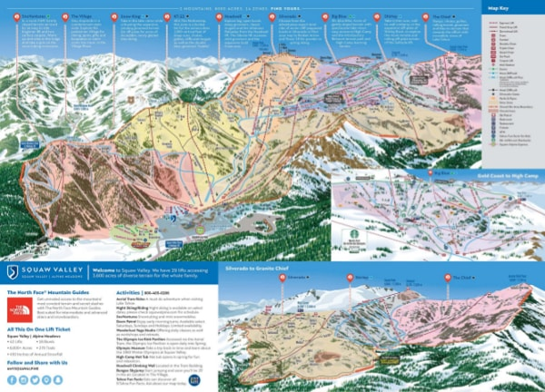 Squaw Valley, Lake Tahoe Ski Resort Piste Map