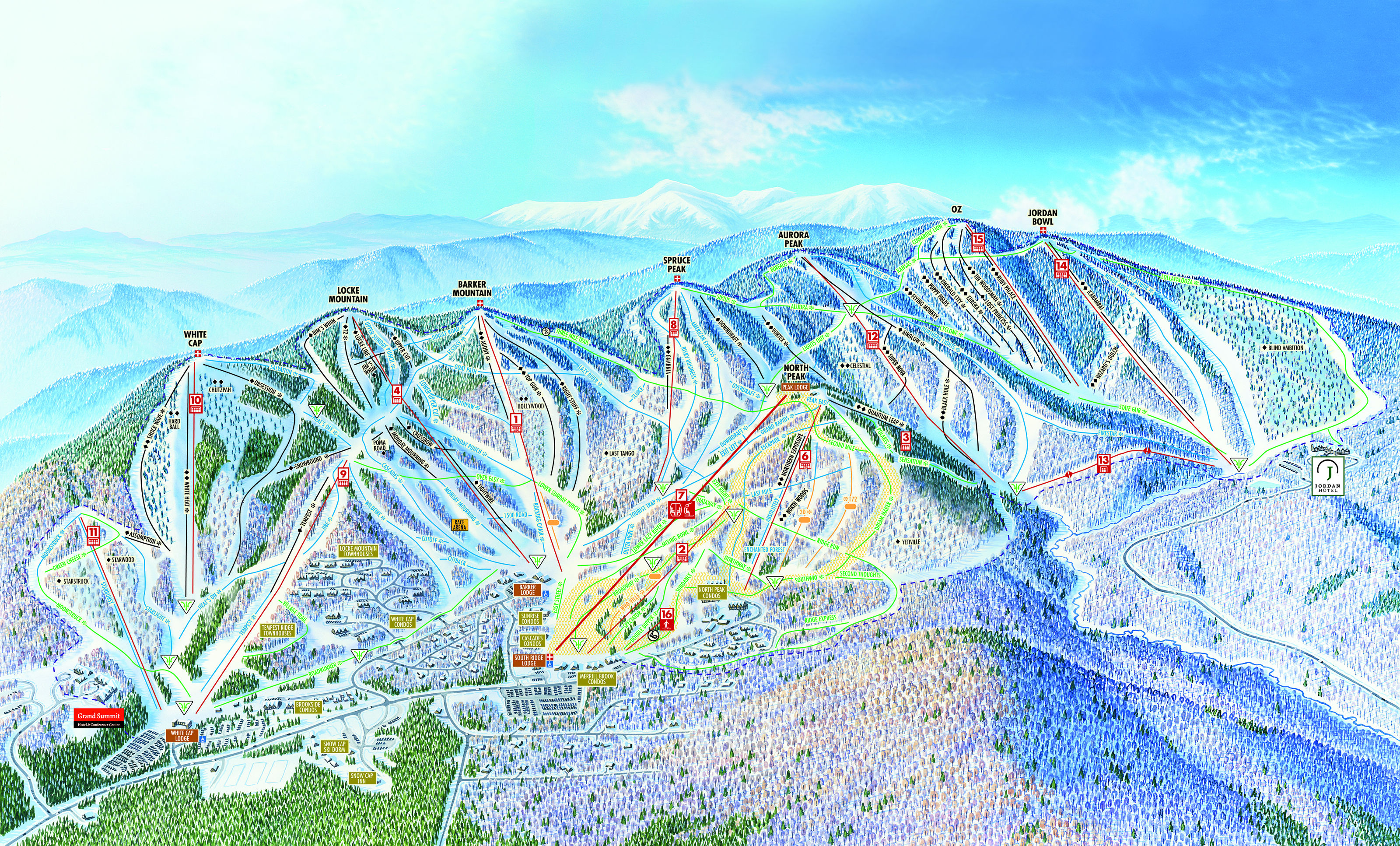 Sunday River Piste Maps - Map of us mountain ranges and rivers