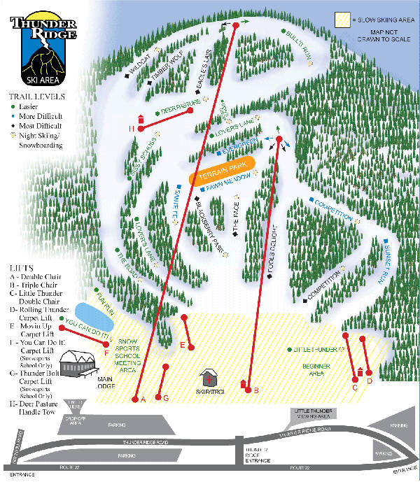 Thunder Ridge Ski Resort Piste Map