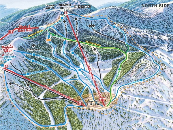 Whitefish Mountain North Side Ski Resort Piste Map