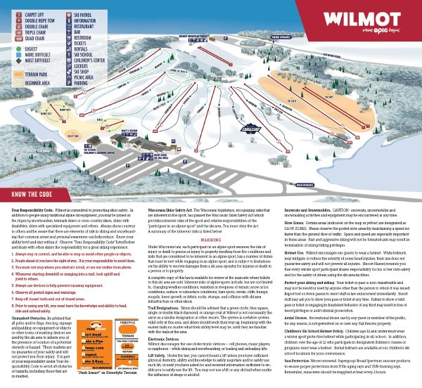 Wilmot Mountain Ski Resort Piste Map